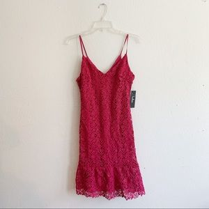 NWT Lulus Pink Lace Crochet Midi Dress L
